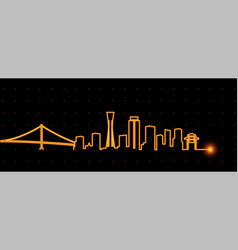 Kobe light streak skyline vector