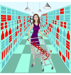 Lady in supermarket with cart and word Shopping vector image