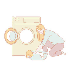 laundry woman washing clothes in washer housework vector image
