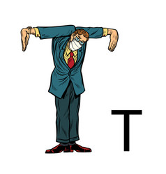 Letter t office alphabet people as letters vector