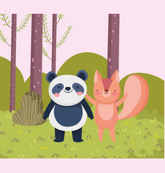 little panda and squirrel cartoon character forest vector image