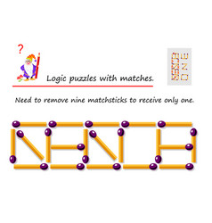 Logical puzzle game with matches need to remove vector