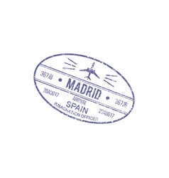 Madrid airport control stamp isolated spain visa vector