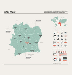 Map ivory coast high detailed country vector