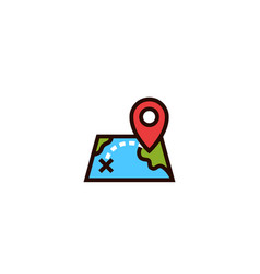 Map location track icon distance with pin locator vector