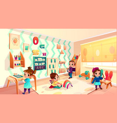 Montessori room with children playing games vector