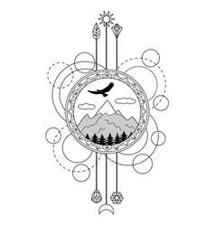 Mountains tattoo symbol vector