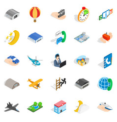 Notification center icons set isometric style vector
