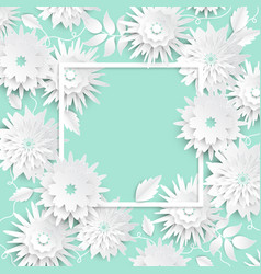 paper cut flowers - modern colorful vector image