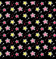 Pink yellow stars pattern vector