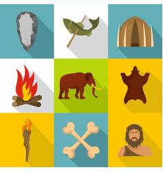 prehistoric icons set cartoon style vector image