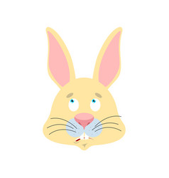 Rabbit confused emoji oops face avatar hare vector