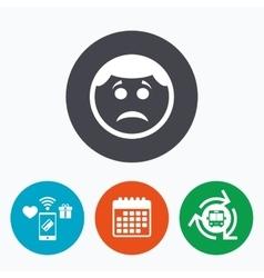Sad face sign icon Sadness symbol vector image