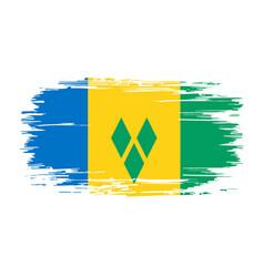 saint vincent and grenadines flag brush grunge vector image