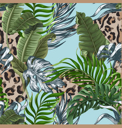 seamless leopard skin pattern with tropical leaves vector image
