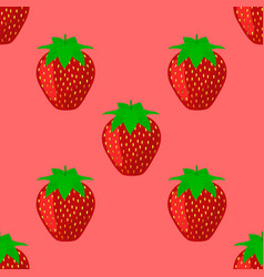 Seamless pattern with juicy ripe strawberry vector