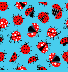 Seamless pattern with ladybugs flat on background vector
