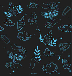 seamless pattern with mystic magical elements vector image