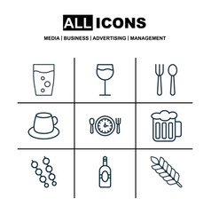 set of 9 food icons includes meal hour coffee vector image