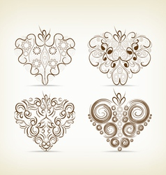 Set of christmas hearts doodle for design vector