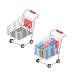 Shopping cart isometric vector