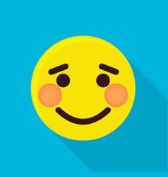 shy emoticon icon flat style vector image