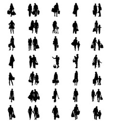 silhouettes shopping vector image