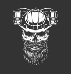 Skull in beer helmet vector