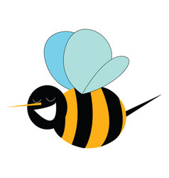 smiling bumble bee print on white background vector image