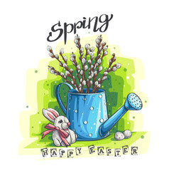 spring easter greeting with vector image