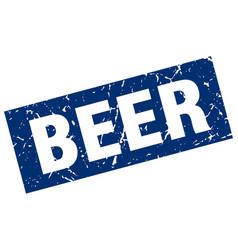 Square grunge blue beer stamp vector