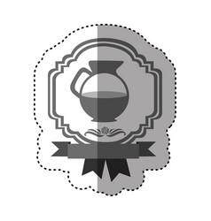 Sticker gray scale border heraldic decorative vector