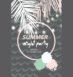 Summer tropical night party poster vector