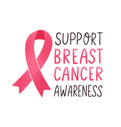 support breast cancer awareness lettering vector image