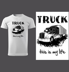 T-shirt print design with american truck vector