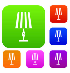 table lamp set color collection vector image