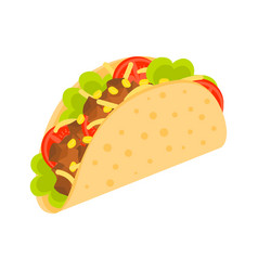 Taco mexico food tacos with meat and vegetable vector