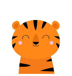 tiger cute cartoon kawaii funny smiling character vector image