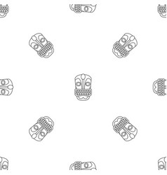 tiki idol face pattern seamless vector image