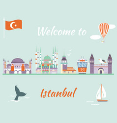 Tourist poster with famous landmarks of istanbul vector