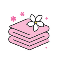 towels with jasmine spa concept icon vector image