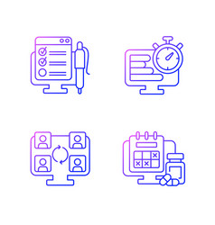 Tracking for remote work gradient linear icons set vector