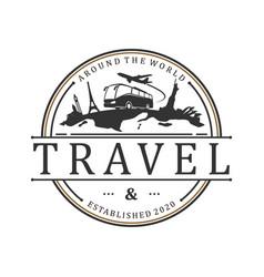 Travel agency badge logo design transport icon vector