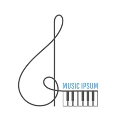Treble clef piano keys Music icon logo vector image