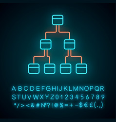 Tree diagram neon light icon hierarchical system vector