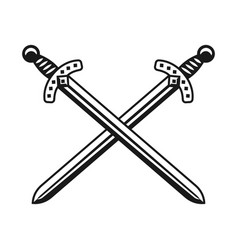 two crossed swords weapon design object vector image