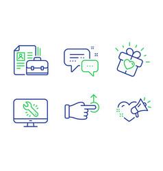 vacancy love gift and monitor repair icons set vector image