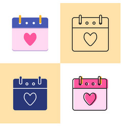 valentines day calendar icon set in flat and line vector image