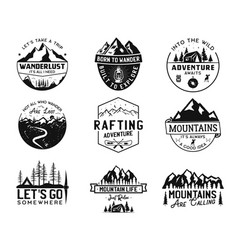 Vintage camp logos mountain badges set hand vector