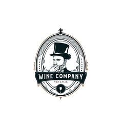 vintage wine company frame vector image